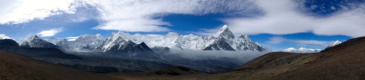 Panoramic view of ama dablam mountains at sagarmatha national park