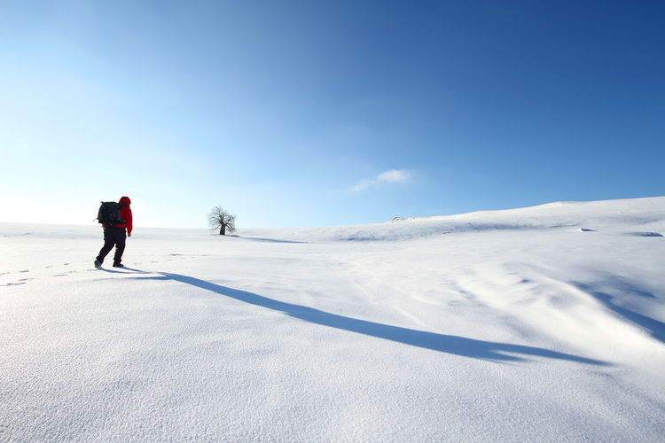 Full length of person walking on snow covered landscape