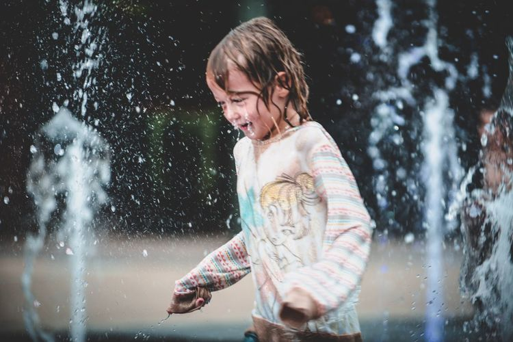 One Person Childhood Child Nature Motion Hair Emotion Water Wet Hair
