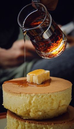 Sweet Food Cake Dessert Focus On Foreground Ready-to-eat Maple Syrup Butter