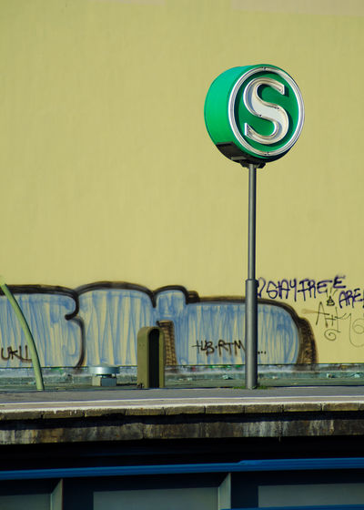 Subway sign on railroad station platform