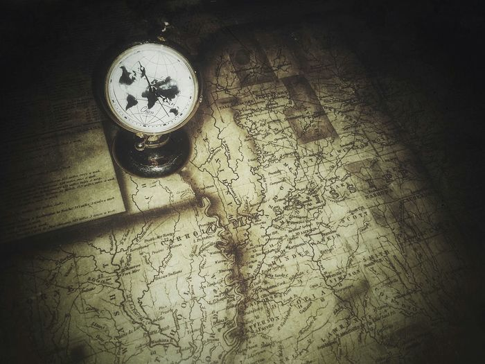 old map and timepiece USA Mississippi  Louisiana Border Shadow Travel Map Vintage Antique Vignette Poster Grunge Monochrome Clock Ink Paper Table Time Text Close-up Instrument Of Time Second Hand Clock Face Clockworks Hour Hand Minute Hand Clock Hand