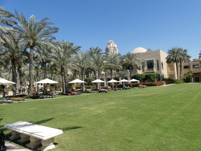 Gardens of the One & Only Hotel, Dubai, United Arab Emirates 2019 Dubai UAE 2019 One & Only Hotel Blue Sunlight Palm Trees Grass Lawn Gardens Tropical Climate No People Umbrellas Sunloungers Hotel Tourist Destination Travel Tourist Attraction  Arabic Architecture Lifestyles Luxury Composition Outdoor Photography Tourism