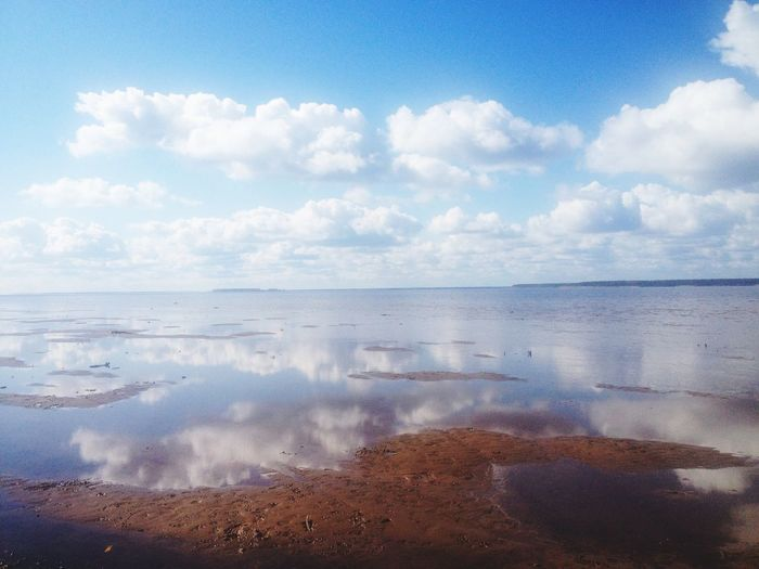 Scenic shot of reflection of clouds in calm sea