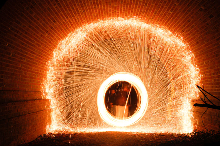 Illuminated wire wool in tunnel