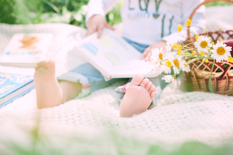 Low Section Of Girl Reading Book While Sitting On Picnic Blanket