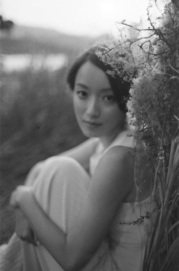 Young Adult One Person Real People Young Women Plant Focus On Foreground Lifestyles Portrait Leisure Activity Land Looking At Camera Beauty Nature Beautiful Woman Casual Clothing Waist Up Women Beach Looking Hairstyle Outdoors Contemplation Bride Blackandwhite Film Film Photography Filmisnotdead Asian  Asian Girl