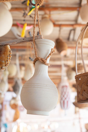 Close-up of decoration hanging in store