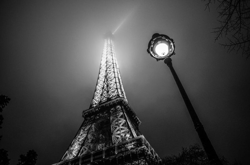 Low Angle View Illuminated Architecture Built Structure Tower Sky Tall - High Travel Destinations Nature City No People Lighting Equipment Tourism Tree Night Travel Street History Outdoors Spire  Blackandwhite Black & White Bw Paris France