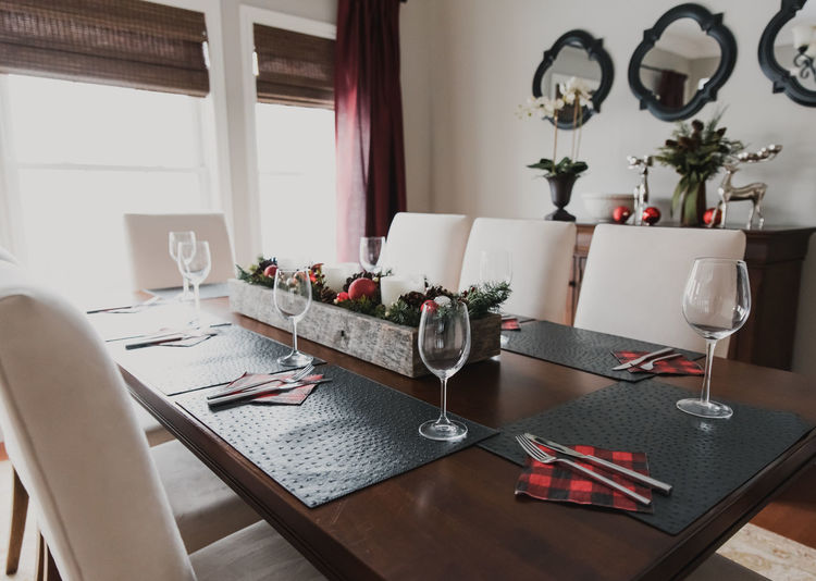 Interior of dining table at home