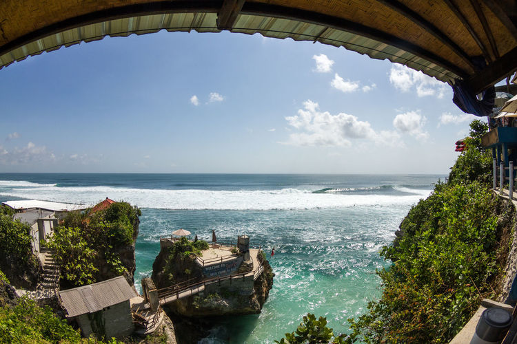 Panoramic shot of calm sea against sky