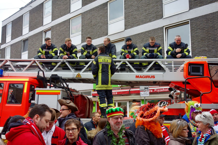Firebrigade sitting on a turning ladder, watching the famous cologne carnival parade (Rosenmontagszug). Adult Adults Only Carnival Carnival Crowds And Details Carnival Parade Carnival Procession Carnival Spirit City Cologne Day Fire Brigade Fire Brigade Car Germany Karneval Law Outdoors Parade Participant Party People Police Force Rosenmontag Rosenmontagszug Tradition Traditional Culture Be. Ready.