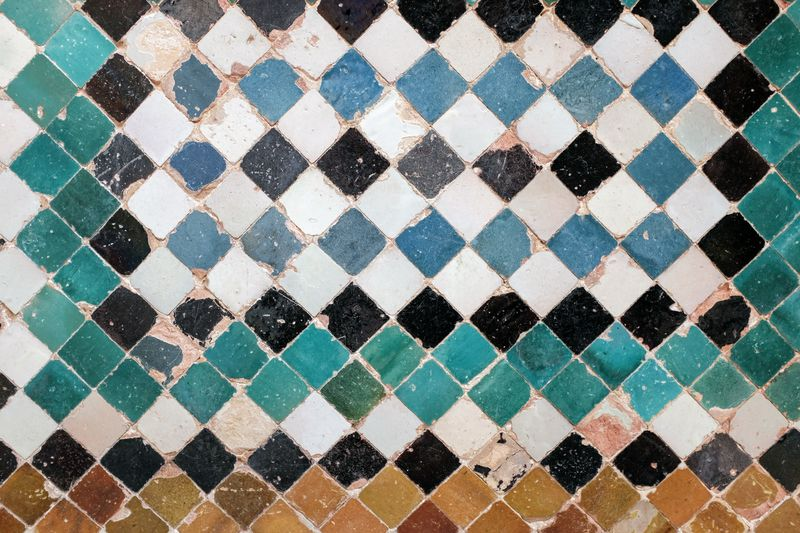 Art And Craft Backgrounds Black Color Blue Checked Pattern Close-up Design Flooring Floral Pattern Full Frame Geometric Shape Indoors  Multi Colored No People Pattern Repetition Shape Square Shape Textured  Textured Effect Tile Tiled Floor