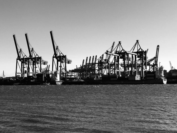 Harbour Hamburg Sky Clear Sky Nature Day Water Architecture No People Crane - Construction Machinery