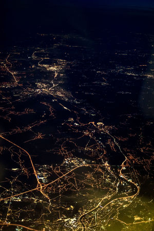Flight Varadero (Cuba) - Frankfort/Main (Germany Aerial View Beauty In Nature Dwellings High Angle View Illuminated Landscape Nature Night No People Outdoors Scenics Settlement Street Through The Window Tranquility The Graphic City