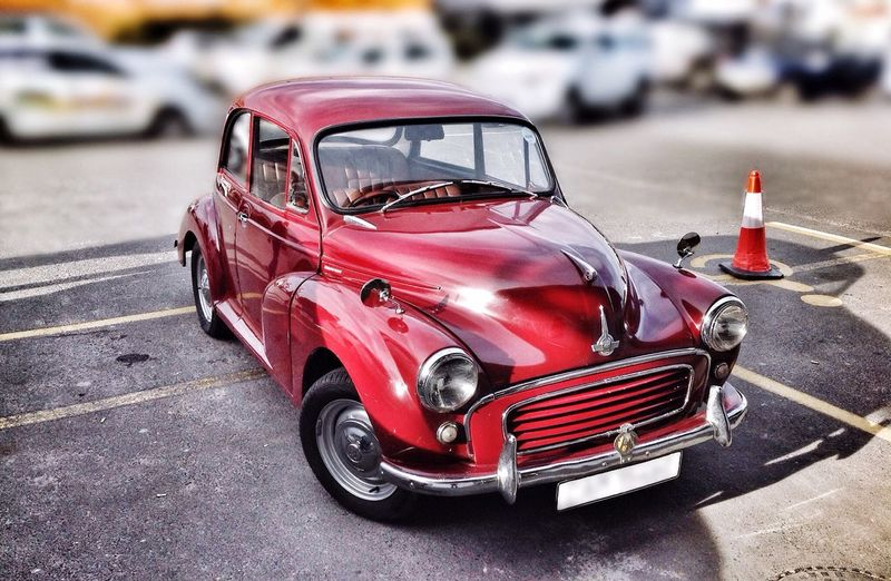 Morris Minor Motorcar Classic Car Morris Minor Parked Vehicle Transport Restored Classic Car Parking Lot Burgundy Color Prestige Classic