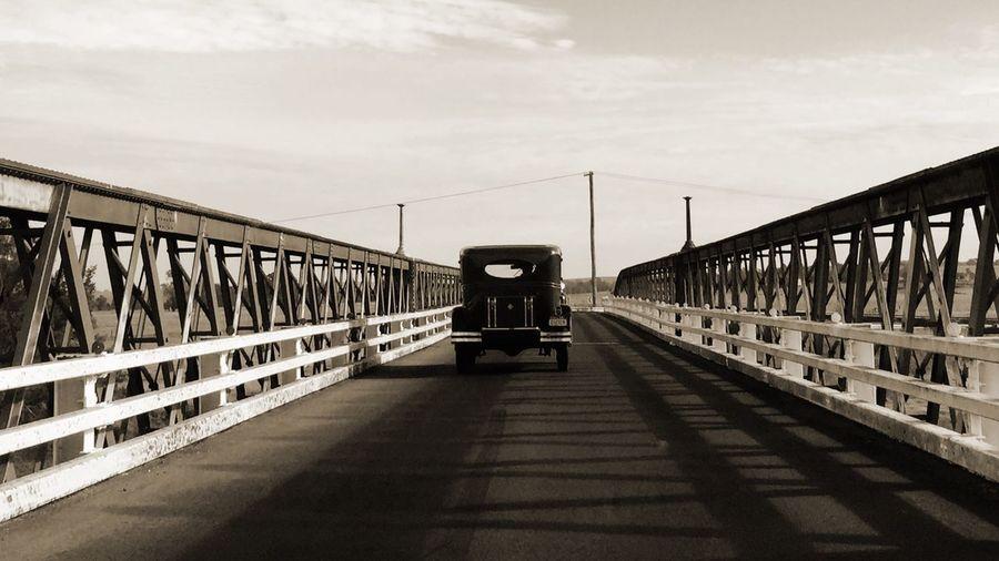 Old Car Old Bridge Blackandwhite Antique