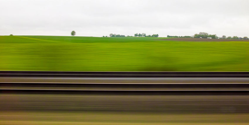 Landscape Lines Minimalism Motion Blur Outdoors Rails Train Ride Train View