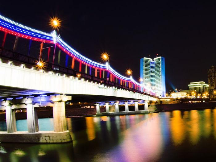 Architecture Bridge City Connection Illuminated Moscow Night winter shine