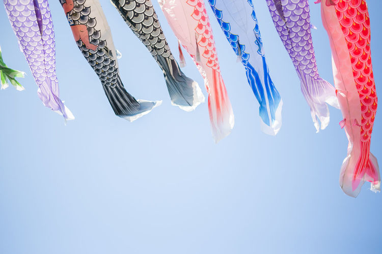Low angle view of koinobori against clear sky