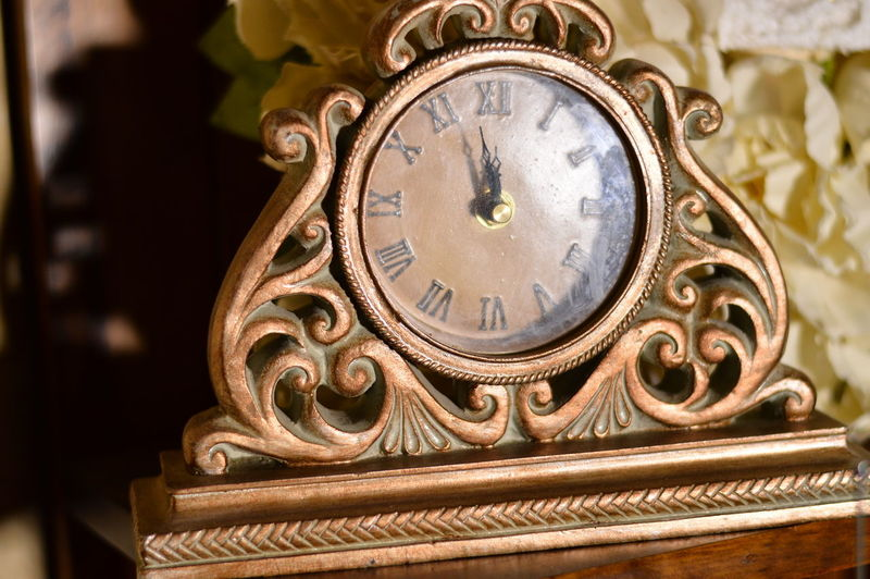 Close-up of old clock