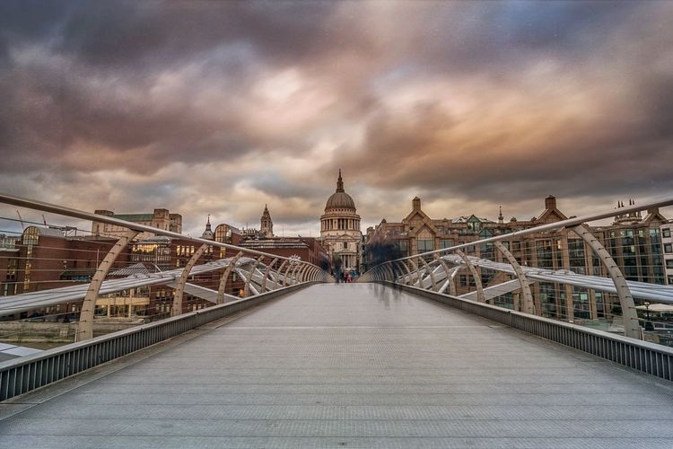Millennium Bridge Against St Pauls Cathedral During Sunset