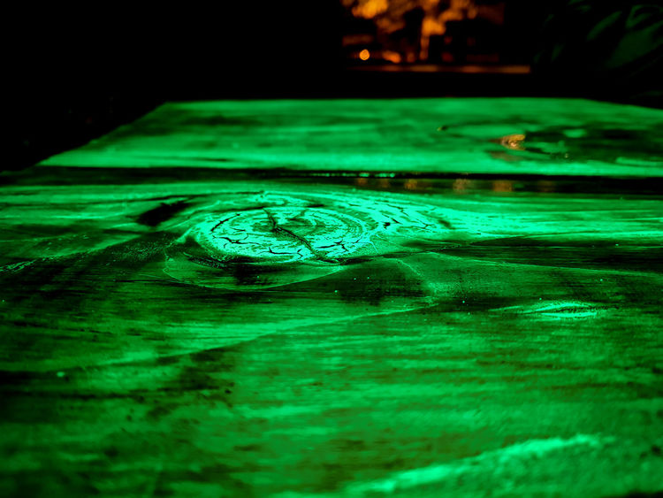 Water Clock Time Concentric Motion Rippled Close-up Green Color Refraction Shallow Ankle Deep In Water Spectrum Distorted Image Distorted