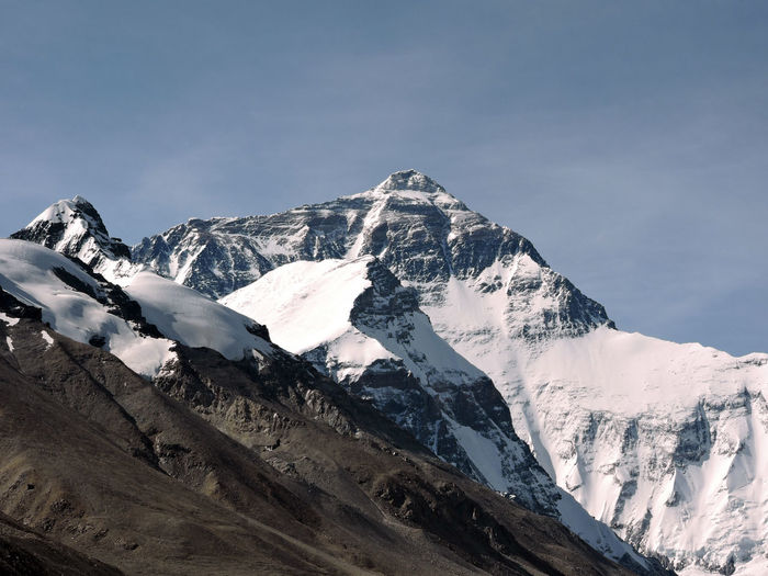 Scenic view of snowcapped mt everest against sky on the tibetan side