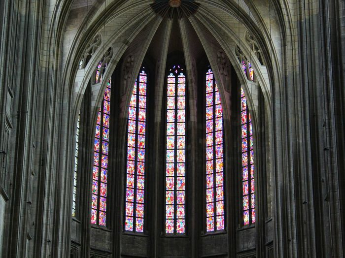 Low angle view of windows in church