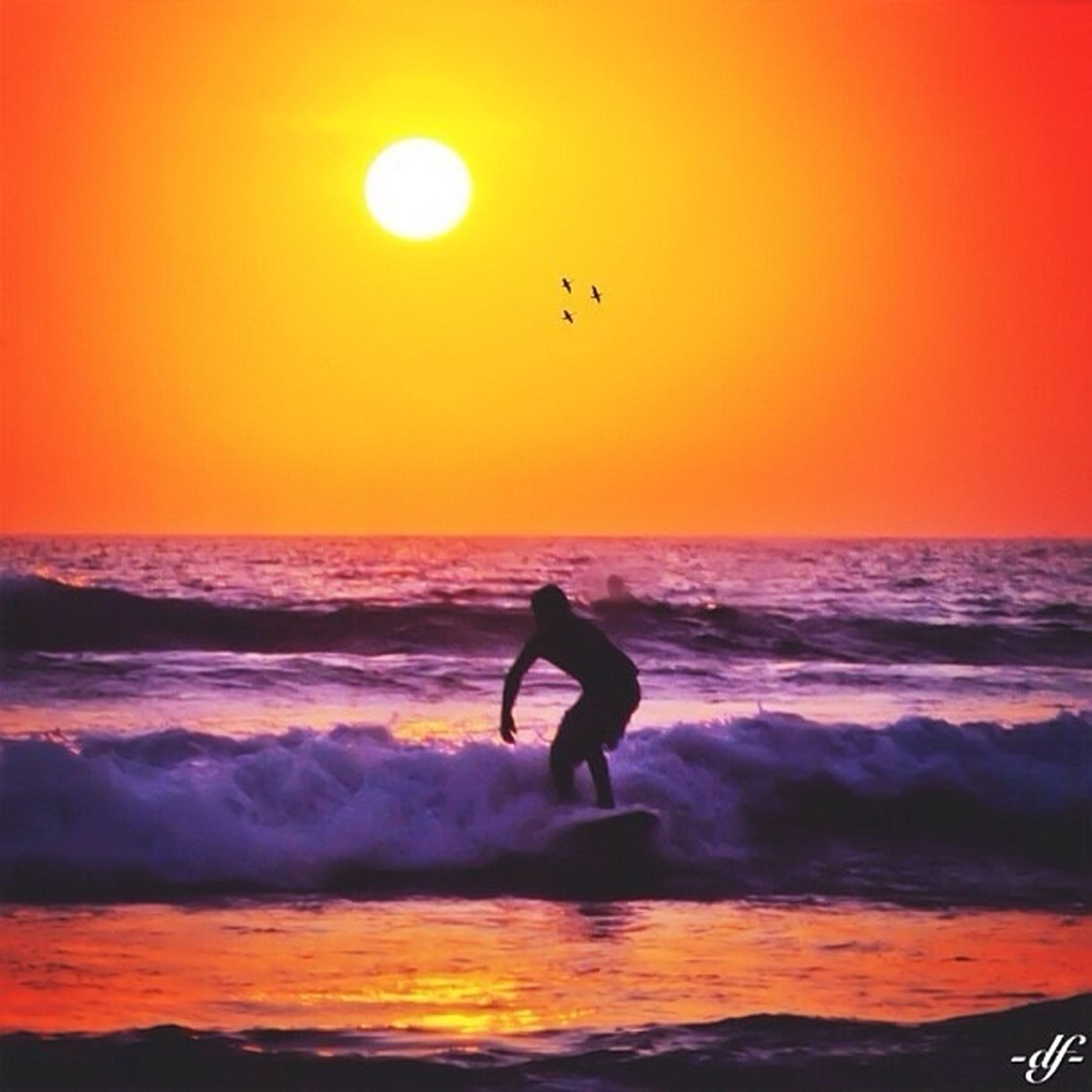 sunset, sea, horizon over water, orange color, water, silhouette, beach, scenics, leisure activity, shore, wave, beauty in nature, tranquil scene, lifestyles, sun, idyllic, tranquility, full length