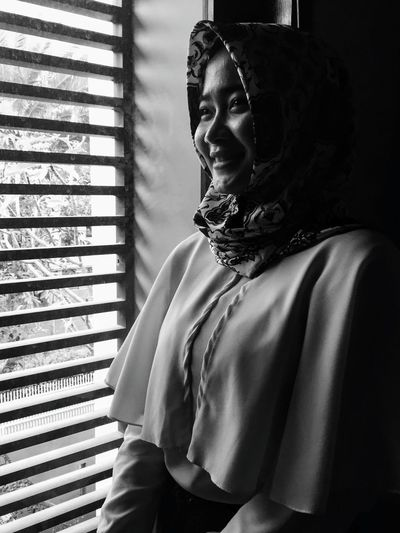 Nata in b/w (03) Young Woman In Bw Series In Bw Fashion Indoor Mobile Photography IPhoneography Beautiful Woman Black And White Portrait Window Light Hijabstyle  Headscarf Medium Close Up EyeEm Selects