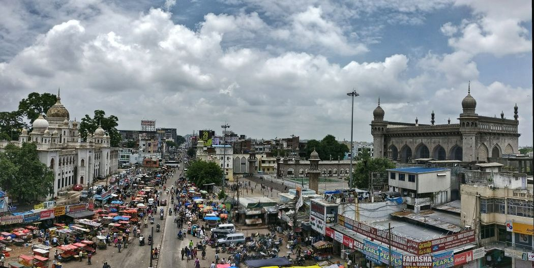 The Week On EyeEm Hyderabad View From Charminar Makkah Masjid Crowded Street Street Vendors Fruit Stalls Panoramic View Nizamia Unani Hospital
