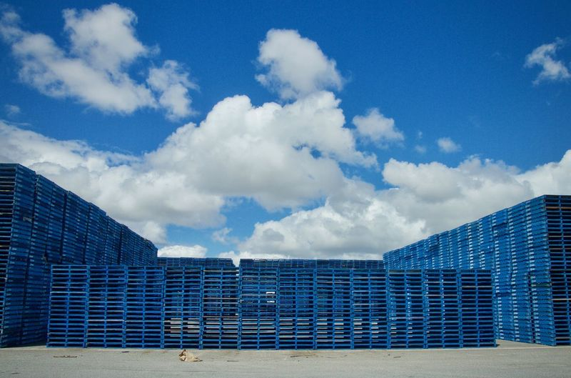 Blue Pallets Outdoors