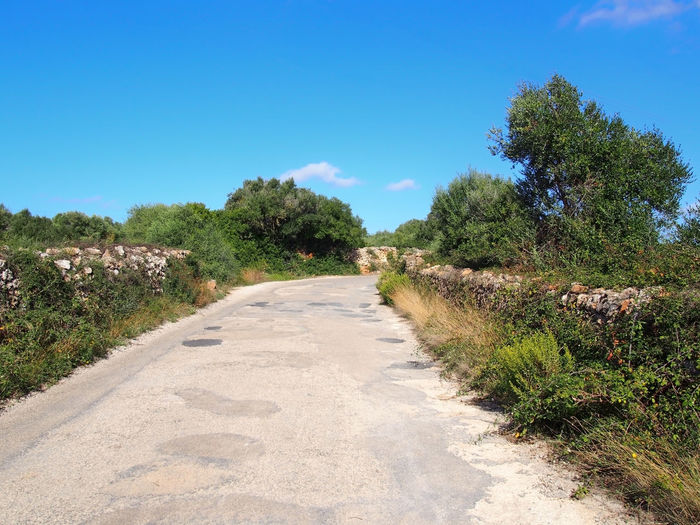 a typical narrow country road in menorca surrounded by old dry stone walls with surrounding fields and trees with a bright blue sunlit summer sky Lane Country Road Diminishing Perspective Stone Wall Field Meadow Menorca Walking Summer Sunlight The Way Forward Road Direction Tranquil Scene No People Blue Beauty In Nature Outdoors Long Nature Landscape Footpath Tree Sky Scenics - Nature