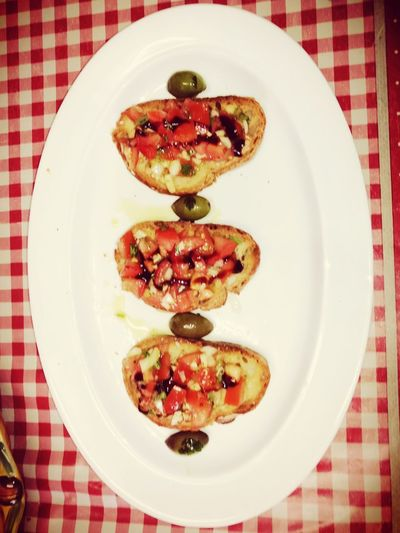 Bruschetta Italian Food Food Foodporn❤️ My Work I Made This! Acetobalsamicotradizionaledimodena Directly Above Plate Checked Pattern Tablecloth High Angle View Healthy Eating Food Stories