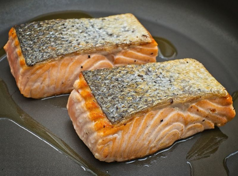Appetizing Salmon Cooking Food Styling Frying Frying Pan Seafood Chef Close-up Fish Food Food And Drink Foodphotography Freshness Healthy Eating Indoors  No People Ocean Fishing Olive Oil Pan Ready-to-eat Salmon