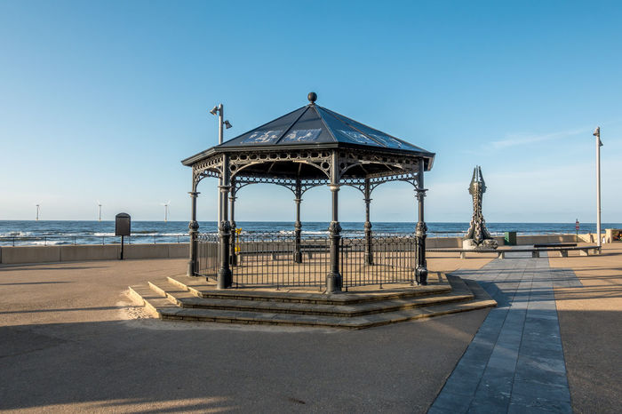 Redcar Teesside Sky Water Sea Architecture Built Structure Horizon Over Water Day Nature Horizon Sunlight Clear Sky Beach Land Gazebo No People Shadow Pier Scenics - Nature Outdoors Architectural Column Band Stand Bandstand