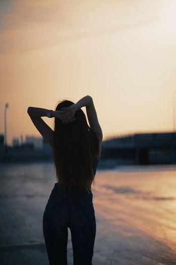 Portrait happy life silhouette sunset sunshine woman girl carpark