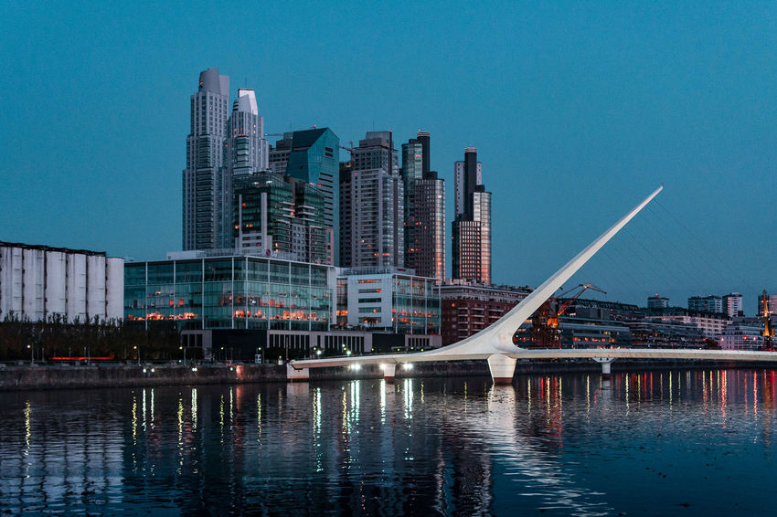 Architecture Argentina Cityscape Lifestyle Modern Outdoors Puente De La Mujer Puerto Madero Reflection River Travel Urban Skyline Vacation VSCO Vscocam Water Waterfront Cities At Night This Is Latin America