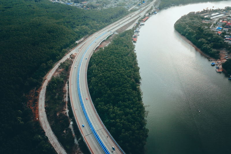 High angle view of highway by river