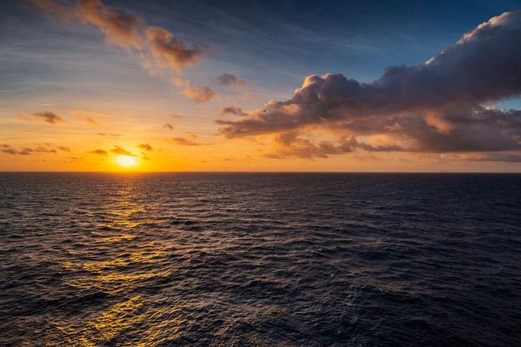 Windy sunrise Cloud - Sky Day Horizon Horizon Over Water Nature Scenics - Nature Sea Seascape Sky Sunlight Sunrise Sunset Water Windy