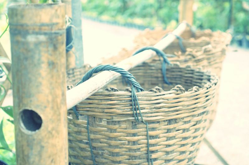Close-up of ropes in basket on table