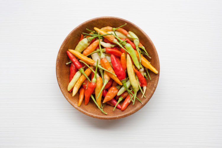 High angle view of vegetables on table against white background