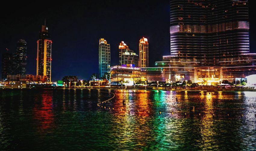 Bright lights. Dubai Dubai Fountain UAE Water Reflections Night Lights