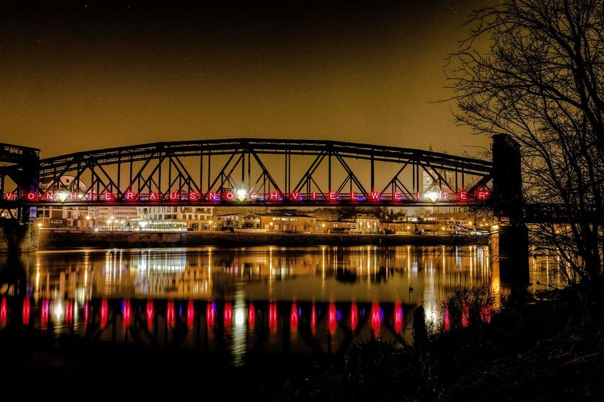 Bridge - Man Made Structure Built Structure Architecture River Railway Bridge Waterfront Germany Tranquil Scene EyeEmNewHere Nightphotography Longexposure Langzeitbelichtung The City Light Photooftheday Reflection Magdeburg Nightshot Madeingermany Yellow Paint The Town Yellow