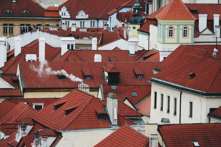 Red tile roofs and smoke