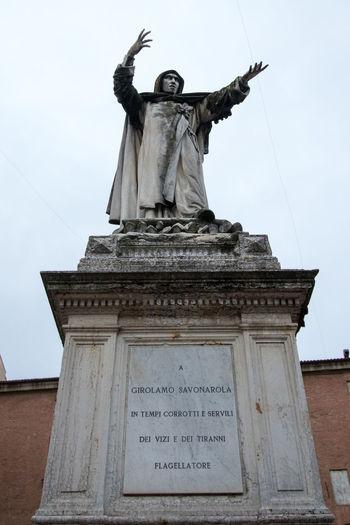 Savonarola Art Column Ferrara Ferrara- Italy FerraraCity History Inquisition Italy Monument Religion Sculpture Statue Statue