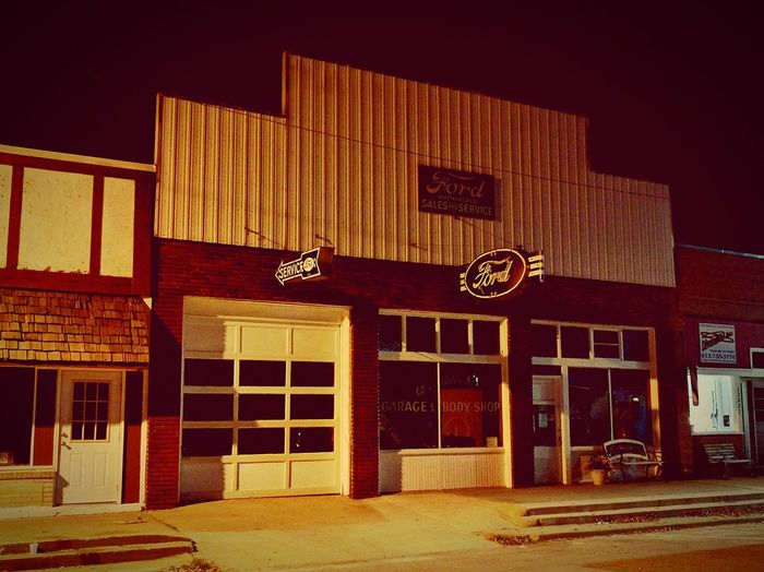 No People Architecture Entrance Built Structure Vintage Style Vintage Ford Service Shop Old Buildings Oldschool Night