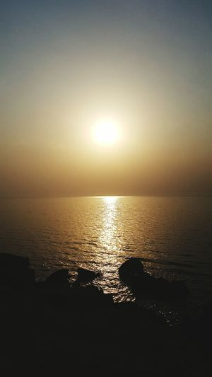 Sunset Qatar Border Saudi Arabia Sun Sea Water Horizon Over Water Scenics Tranquil Scene Sunset Tranquility Beauty In Nature Majestic Reflection Seascape Idyllic Atmosphere Nature Glowing Travel Destinations Non-urban Scene Sky