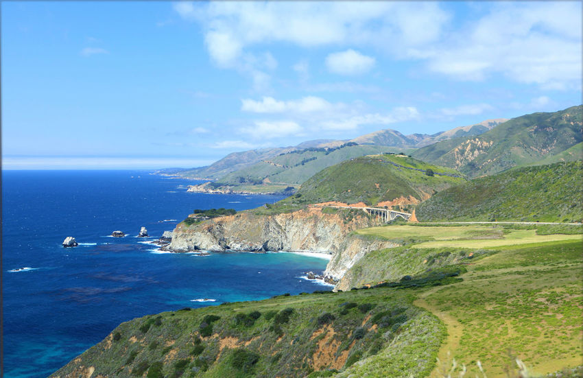 Big Sur, Ca. Beach Beauty In Nature Blue Cliff Day Horizon Over Water Landscape Mountain Nature No People Outdoors Scenics Sea Sky Tranquil Scene Tranquility Water